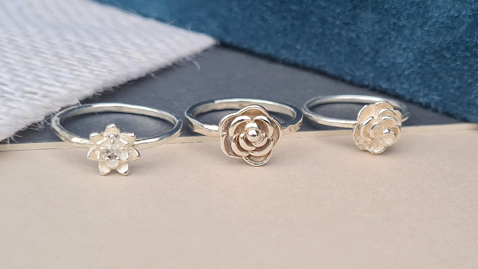 Sterling silver Blossom rings Rose, Lily or mini lilypad ring set