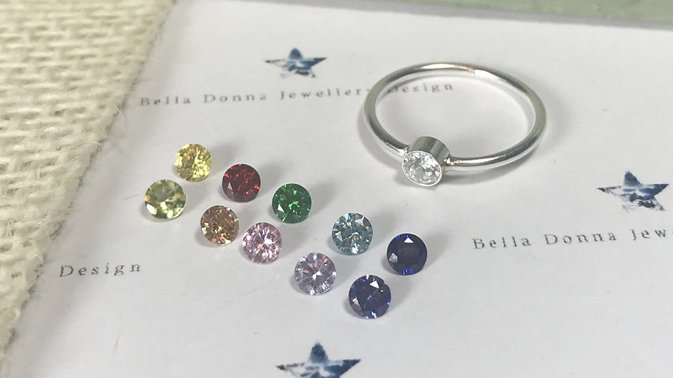 Sterling silver 4mm CZ Cubic Zirconia ring
