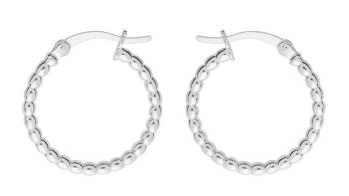 Sterling silver Beaded hoops (Pair)