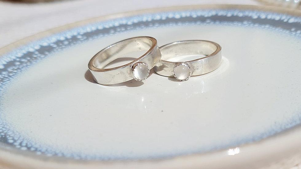 Sterling silver 4mm Birthstone ring