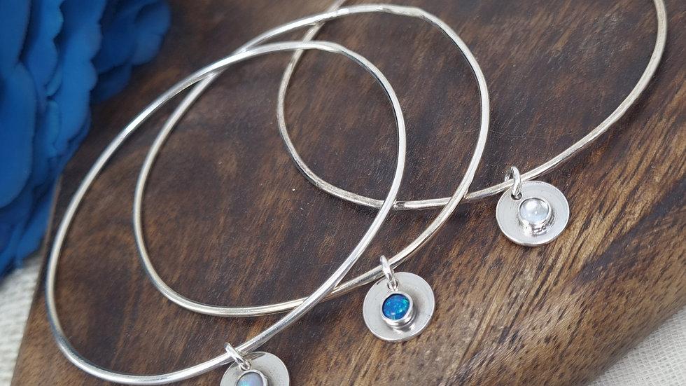 Sterling Silver Semi Precious birthstone pebble charm bangle