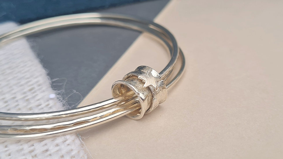 Mutiple Sterling Silver Spinner bead charm Bangles