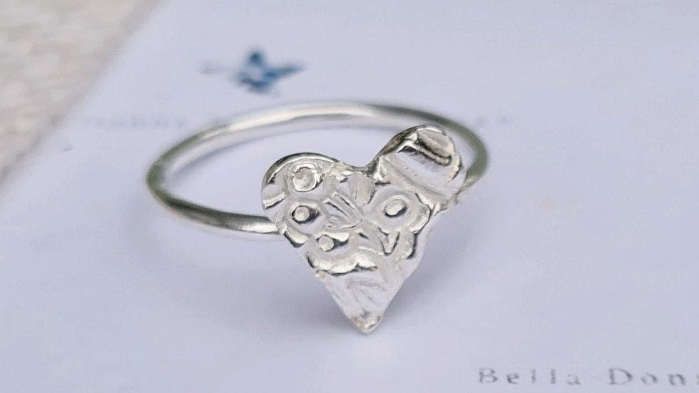 Sterling silver Blossom floral heart or disc ring