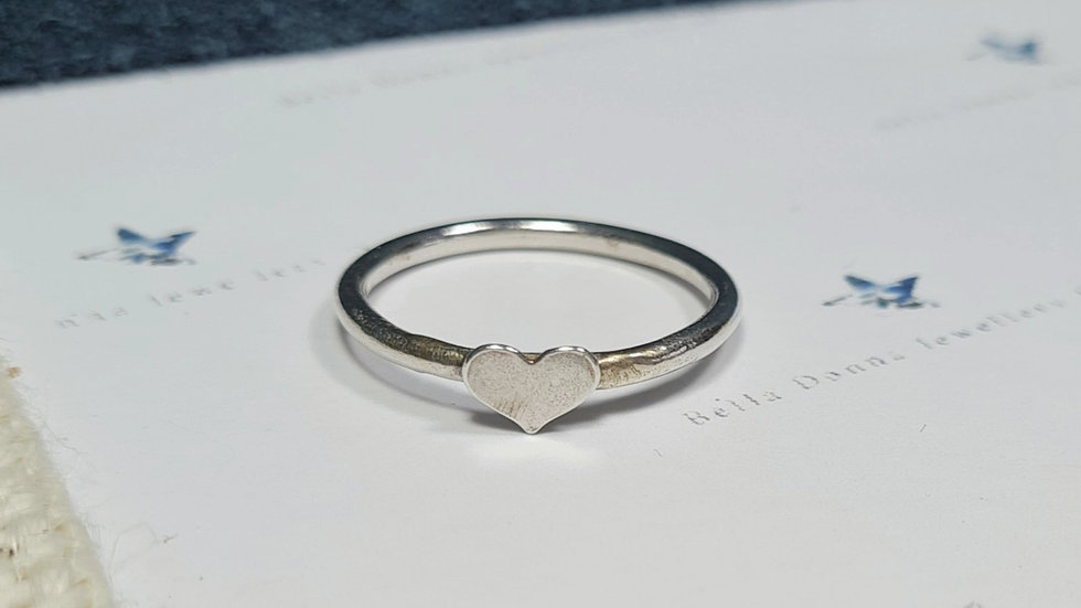 Sterling silver Heart or star stacking ring