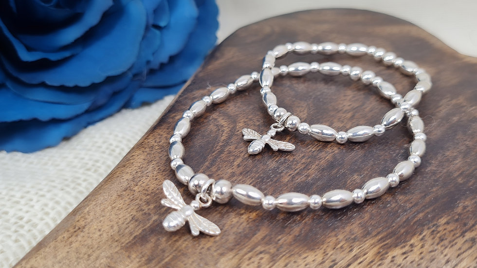 Sterling Silver 'ZEZE' BEADED bracelet with added bee charm