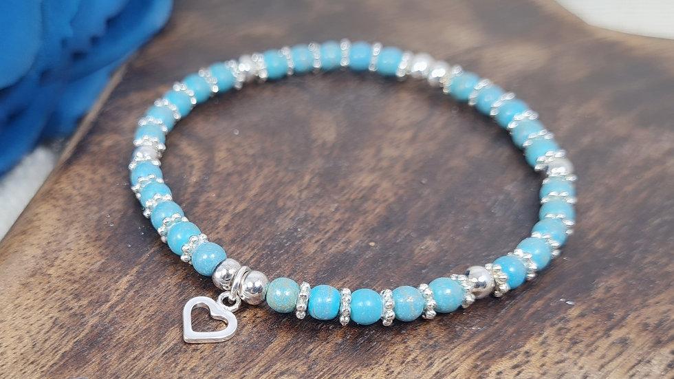 Sterling Silver MAISY Semi Precious birthstone bracelet with charm