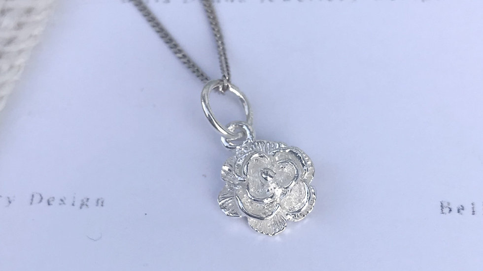 Sterling Silver In Bloom rose, lily, water Lily floral inspired Pendant