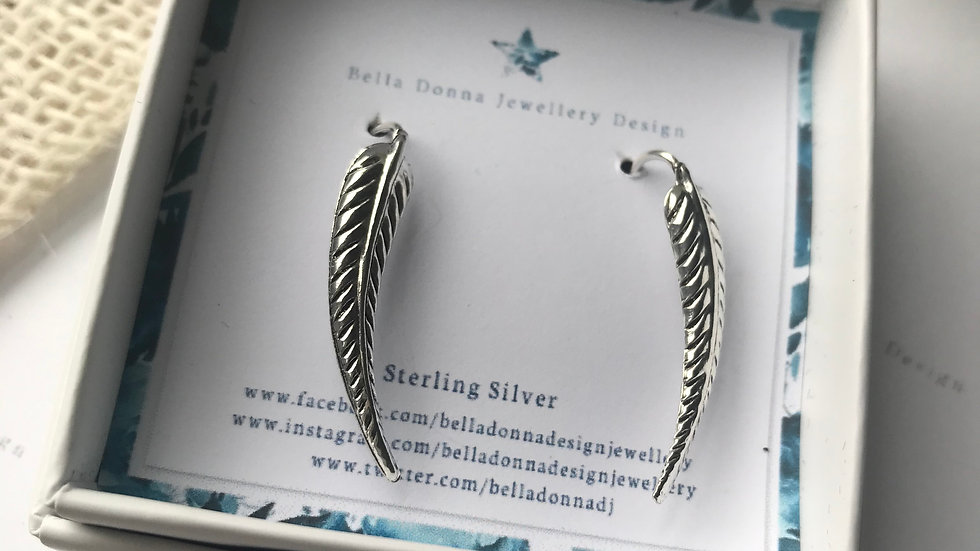 Sterling silver Leaf ear climbers (Pair)