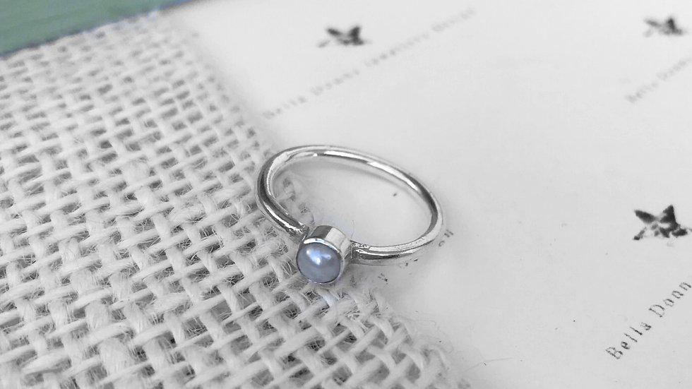 Sterling Silver Saltwater Pearl skinny stacking ring