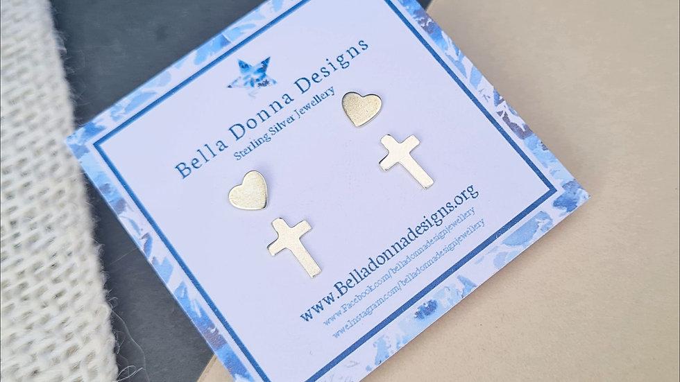 Sterling Silver mini heart, cross or star Stud Earring sets