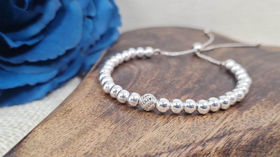 Sterling silver Helena Adjustable  beaded Bracelet