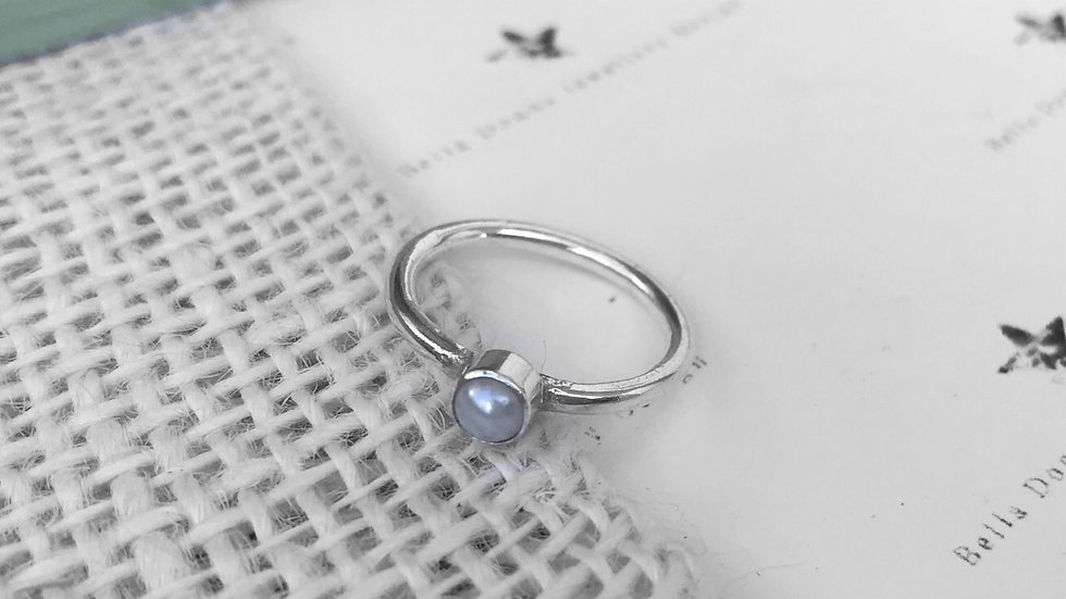 4mm freshwater pearl and sterling silver stacking ring