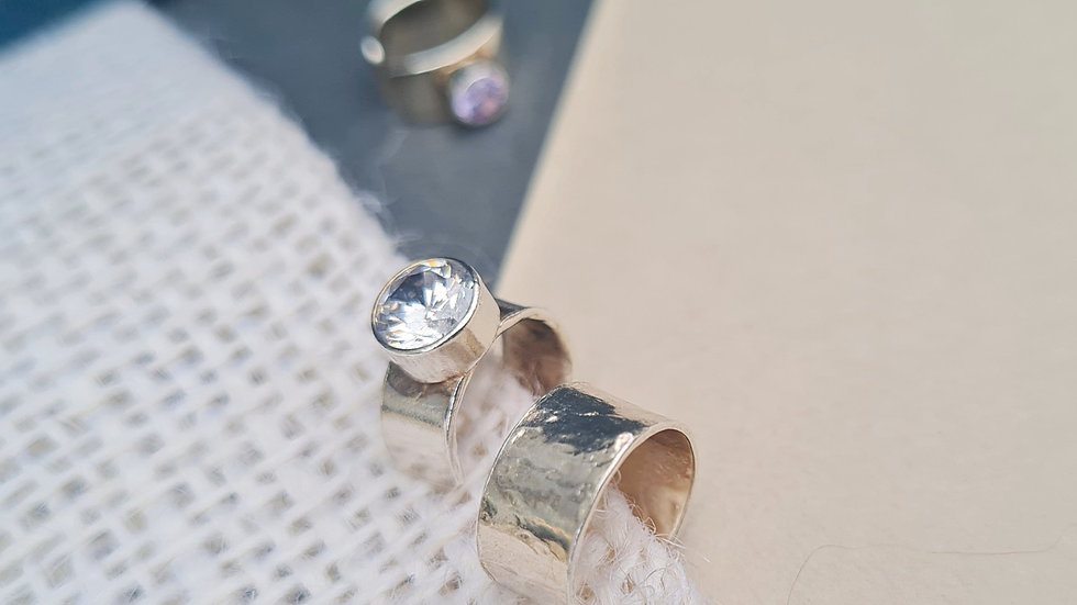 Sterling Silver Plain, hammered or gem cuff earring
