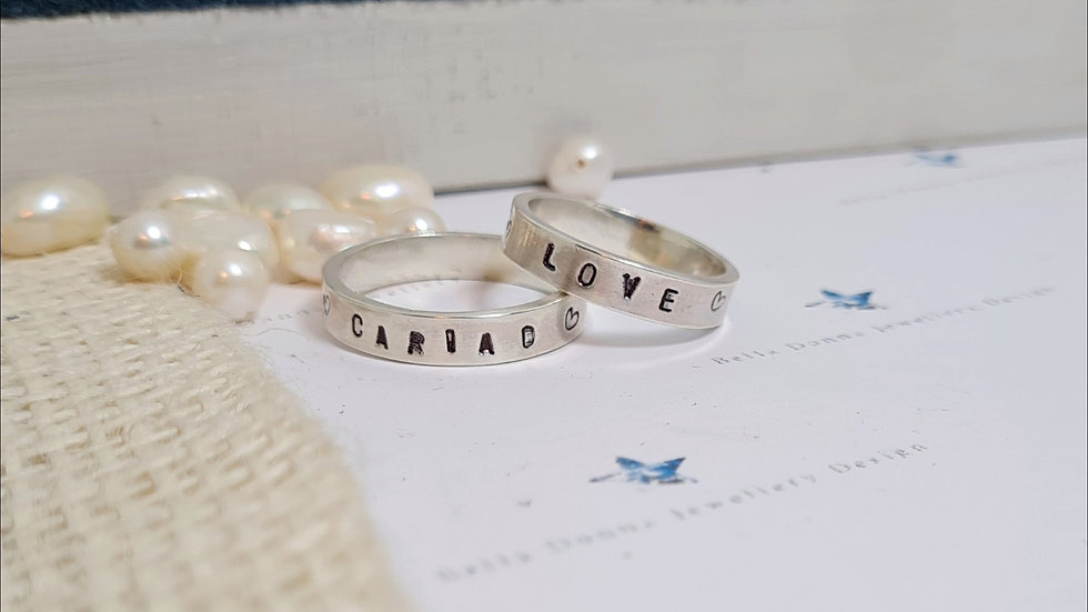 Sterling silver Name or phrase personalised handstamped  ring