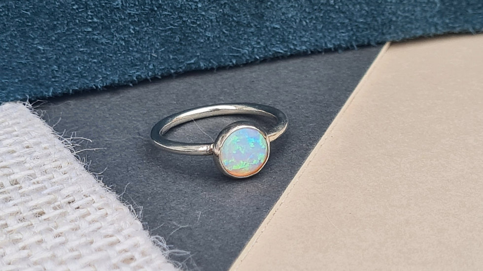 Sterling Silver Triplet opal skinny stacking ring