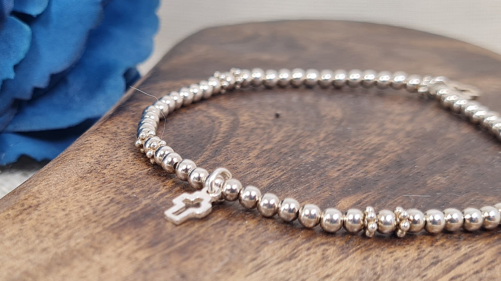 Sterling silver 'EVIE' beaded bracelet with charm.
