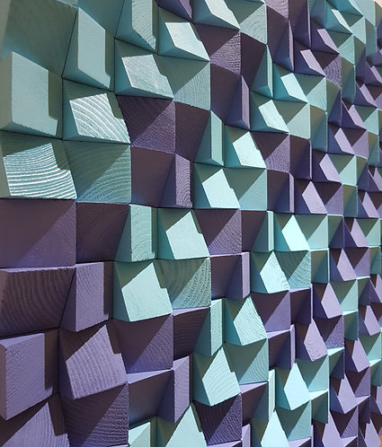 Wood Mosaic 64x64 cms Wall Art - Woodeometry