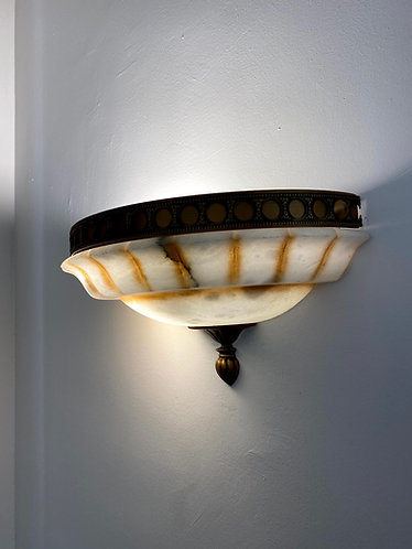 Alabaster Lamp 40x10 cms with Metal Frame marble wall light