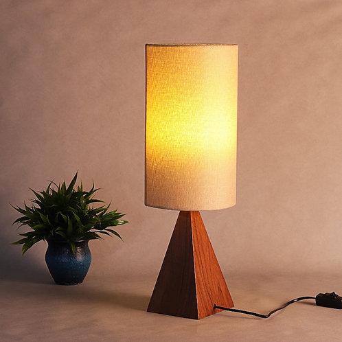 Modern Triangular Table Lamp - Walnut