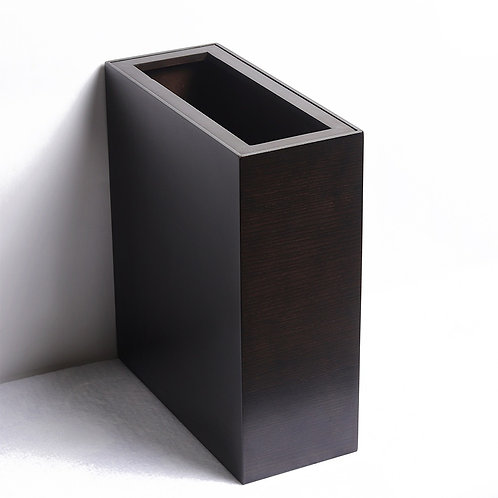 Oblong Modern Trash Bin - Black Oak
