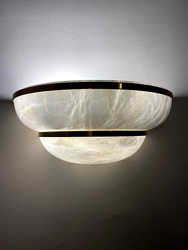 Alabaster Lamp 36x16 cms wall marble light with Gold Stainless Frame