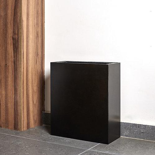 Oblong Modern Trash Bin - Black Oak