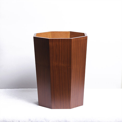 Octagon Wooden Modern Trash Bin - Walnut