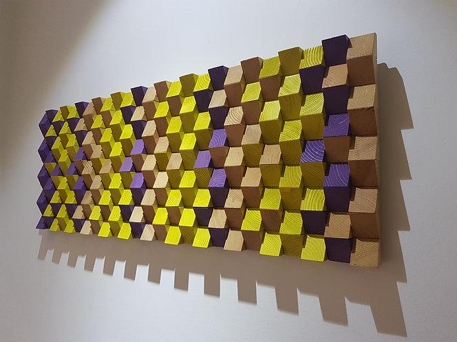 Wood Mosaic 100x44 cms Wall Art - Woodeometry