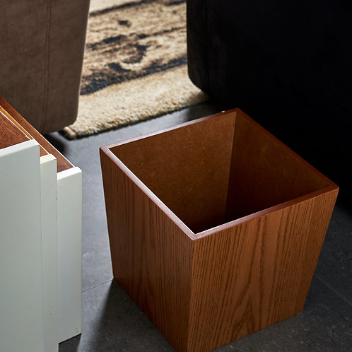 Cubely Modern Trash Bin - Brown Oak