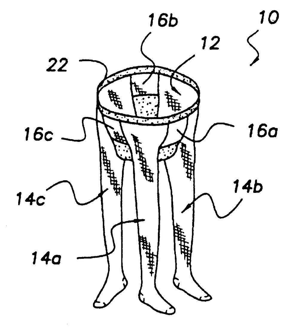 Three legged stockings - patent drawing