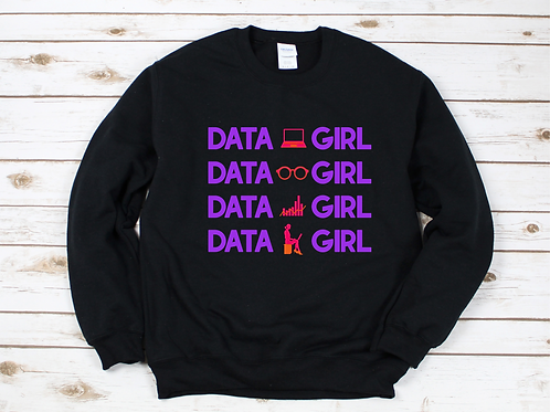 Data Girl Crewneck - (Black)
