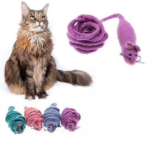 Monte the Mouse - 2M Long Tailed Felt Cat Toy (Pastel Colours)