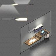 """This is my first attempt to design/hand-sketch a product. Lighting Design is something that I'm passionate about because I'm exposed to it in my daily life. The proposed new light fixture design tends to create two modes """"comfort"""" and """"focus"""". Focus is the direct light component that can be used for variable tasks like sketching, reading, etc. Comfort is the indirect light that provides the general lighting in the space and helps reduce or eliminate any discomfort glare to be reflected from a monitor."""