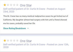 One star reviews of Dr. Curtis N. Crane