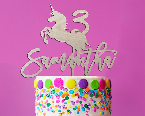 Personalized Name and Age Unicorn Wood Cake Topper