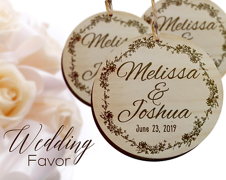 Bride and Groom Name Wedding Favor Ornaments