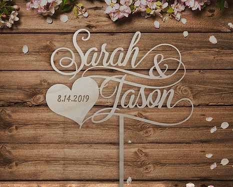 Personalized Name Wedding Cake Topper