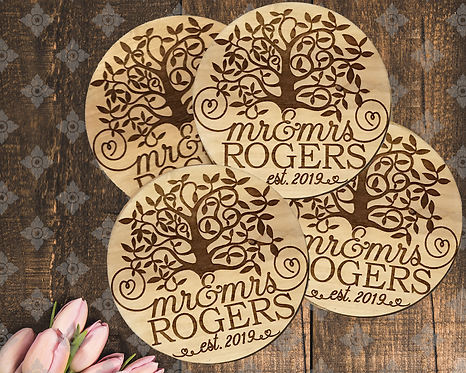 Mr & Mrs Rustic Personalized Coasters
