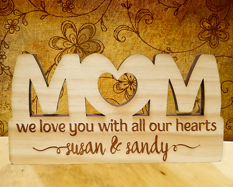 Mom We Love You With All Our Hearts Personalized Plaque