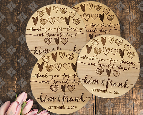 Thank You for Sharing our Special Day Rustic Personalized Favor Coasters