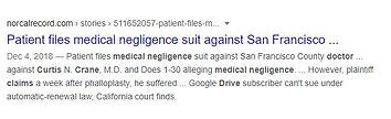 Patient files medical negligence suit against Curtis N. Crane, M.D.