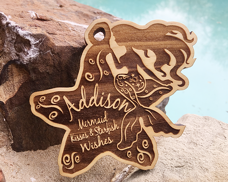 Mermaid Kisses & Starfish Wishes Personalized Ornament
