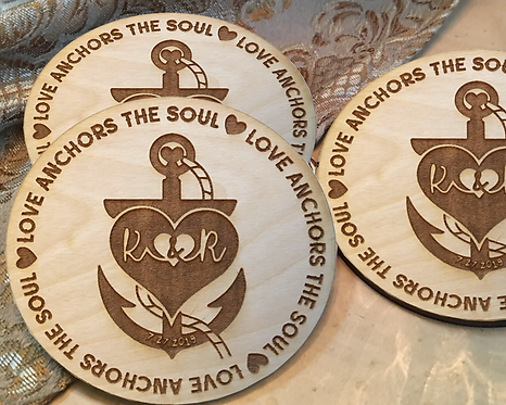 Love Anchors the Soul Monogram Rustic Personalized Coasters