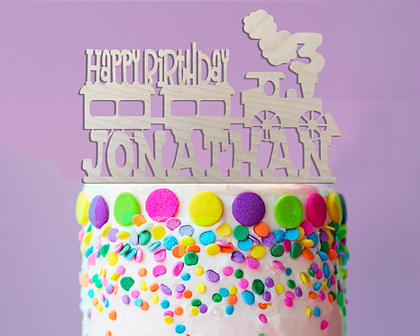 Personalized Happy Birthday Train Wood Cake Topper