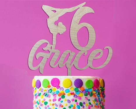 Personalized Gymnastics Birthday Wood Cake Topper