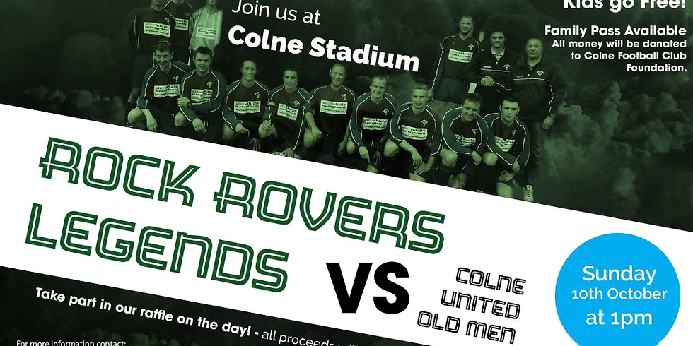 Charity Match - Rock Rovers Legends vs Colne United Old Men