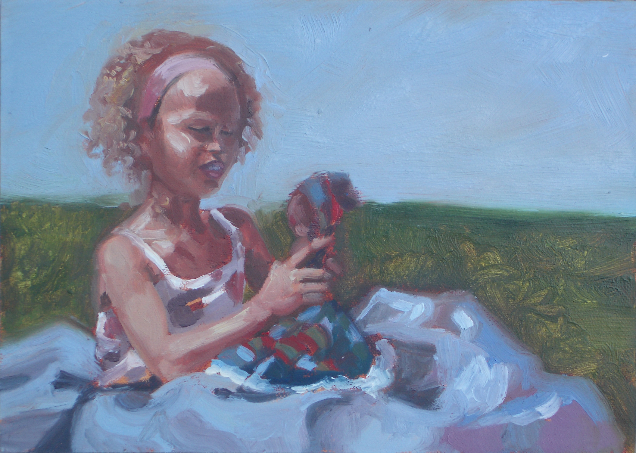 Scarlett with Doll Outside