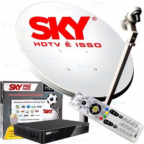 Kit Sky Pré Pago Hd + Antena 60cm C/ Globo & Sbt