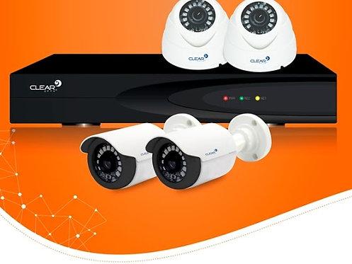 KIT 04 CLEAR FULL HD PLASTICO 2.0 1080P L12 2,8MM + 01 HVR 04 CANAIS