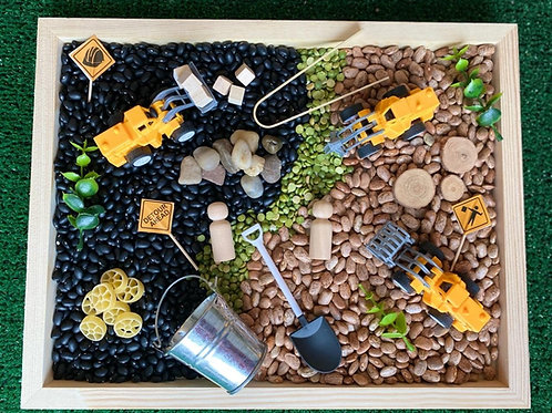 Construction Bean Sensory Box